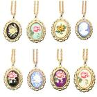 VTG CAMEO NECKLACE Gold Pendant BNWT NEW Flower Lady Rose Pink Blue Black Pretty