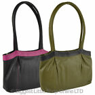 NEW Ladies Soft LEATHER Two-Tone Shoulder BAG by Gorjus Classic Handbag Work