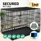 """24"""" 30"""" 36"""" 42"""" 48"""" Dog Pet Cage Kennel Folding Metal Crate Tray Cushion Cover"""