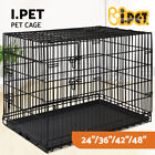 """24"""" 30"""" 36"""" 42"""" 48"""" Dog Pet Cage Kennel Cat Collapsible Metal Crate Tray 3 Doors"""