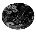 *Limit Stock*Mq01r Metallic Lily Black Velvet Round Box Cushion Cover Case