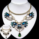 vintage antique styl jewellery glass crystal rhinestone black green bib necklace