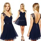 Sexy Women V Neck Lace halter Club Evening Cocktail Formal Party chiffon dress