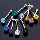 1pc Fashion 14g Czech Crystal Ball Barbell Tongue Ring Stainless Steel Piercing