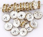 50pcs Champagne Color Crystal Rhinestone Spacer Beads for Jewelry Making 10mm