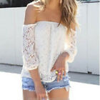Women Sexy White Lace Off-shoulder Loose Tops Fashion Casual T-Shirt Blouse 6-10