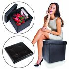 Storage Ottoman Faux Leather Collapsible Foldable Seat Foot Rest Coffee Table