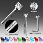 .925 Sterling Silver with Assorted CZ Gems Bendable Fishtail Nose Stud / Ring