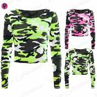 Womens Ladies Military Long Sleeve Army Camouflage Stretchy T Tee Shirt Crop Top
