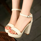 Womens Opentoe faux leather block Heels Pumps simple date Sandals summer on sale