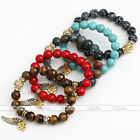 Agate Turquoise Tiger Eye Angel Wing Heart Gemstone Spacer Beads Bracelet Bangle