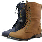 Women Ankle Booties Military Combat Boots Western Cowboy Lace Up Casual Shoes