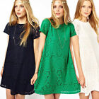 Women's Lace Floral Short Sleeve Club Cocktail Evening Loose Princess Mini Dress