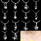 Brand New Fashion Jewelry 18K White Gold Filled CZ Gem Crystal Necklace Pendant