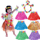 6Pcs Hawaiian Luau Garland Headband Wristband Grass Party Hula Skirt Fancy Dress