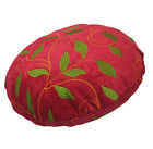 wh03n Red,Lime Leaf Embroidered Chenille Round Shape Pillow Case Cushion COVER