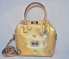 GUESS Britton Turn Lock Bag Purse Handbag Satchel Tote Sac Flowers Charm Gold