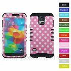 For Samsung Galaxy S5 Soft Pink Polka Dot Hybrid Rugged Impact Armor Case Cover