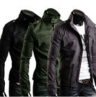 New Military Style Men's Slim Fit Stand Collar Coat Zip Button Hoodie US LO