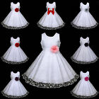 w468 UsaG w6 Pink Summer Holiday White Wedding Party Flower Girls Dress 2,3-12y