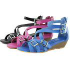 Strappy Gladiator Cross Flats Sandals Buckle Decor Wedge Low Heel Dress Shoes