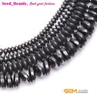"Magnetic Rondelle Black  Hematite Stone Beads Strand 15""  2x4, 3x6 ,3x8mm Select"