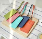 Neck Purse Leather wallet ID Holder Credit Card Mini Zip coin wallets with Strap