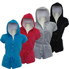 LADIES GIRLS WOMENS SHORT SLEEVE HOODED ONESIE  VELOUR JUMPSUIT PLAYSUITS