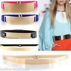 Sexy Lady Metal Mirror Waist Belt Metallic Plate Cover Up Wide Elastic Waistband