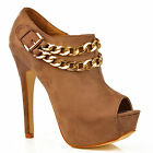 NEW Womens Khaki Beige Gold Chains Peep Toe Stiletto Platform Heels Boots Size