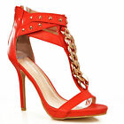 NEW Womens Red Ankle Strap Gold Chain Studs T-Bar High Heels Sandals Shoes Size