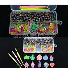 Rainbow Rubber Bands With S/C Clips&Charms Pendant&Alphabet Beads&Hook Boxes Kit