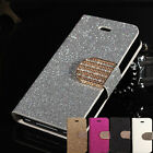 Bling Glitter Crystal Diamond Card Wallet PU Leather Case Stand For iPhone 5 5S
