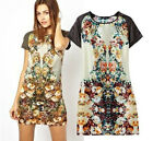 New Vintage Women Ethnic Floral Faux silk touch one piece Dress Prom Gown S M L