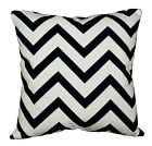 le01a Black Off White Zig Zag Cotton Canvas Cushion Cover/Pillow Case Custom Siz