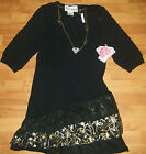 SUPERGIRL by Nastia Dress -black and gold metallic layered ruffles Necklace NEW