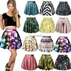 New High Waist Retro Pleated Short Mini Skirt Womens Skater Flared Dress N4U8