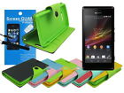 Leather Wallet Case with TPU+Screen Protector+Stylus for Sony Xperia M