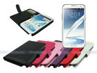 Leather Wallet Case Cover for Samsung Galaxy Note II 2 with Card Slot