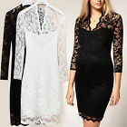 Elegant Womens Sexy V-neck Pencil  Mini Slim Lace Dress Cocktail Casual Party