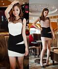 Lady's Contrast Color Cooktail Party Nightclub Slim Dress White/Pink