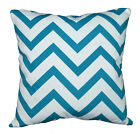 le03a Turquoise Off White Zig Zag Cotton Canvas Cushion Cover/Pillow Case Size