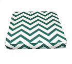 le04t Deep Green On Beige Zig Zag Cotton Canvas 3D Box Seat Cushion Cover Size