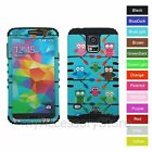 For Samsung Galaxy S5 Colorful Owls Hybrid Rugged Impact Armor Phone Case Cover