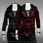 New homelike boy Mens Stylish Slim Double Zipper Hoodies Jackets top Coats UKLO