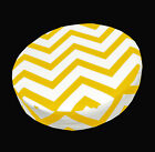le05r Yellow on Beige Zig Zag Cotton Canvas 3D Round Cushion Cover Custom Size
