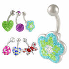 Heart belly bar navel ring button piercing jewellery steel 9HIV-STYLES TO SELECT