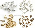 100Pcs Silver Gold Copper Plated Lobster Clasps Hooks  10mm 12mm