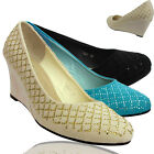 New Ladies Wedges Diamante Low Mid Heel Womens Court Shoes Size UK 3 4 5 6 7 8