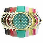 Classic Geneva Dot Print Leatheroid Analogue Quartz Women Girl Wrist Watches